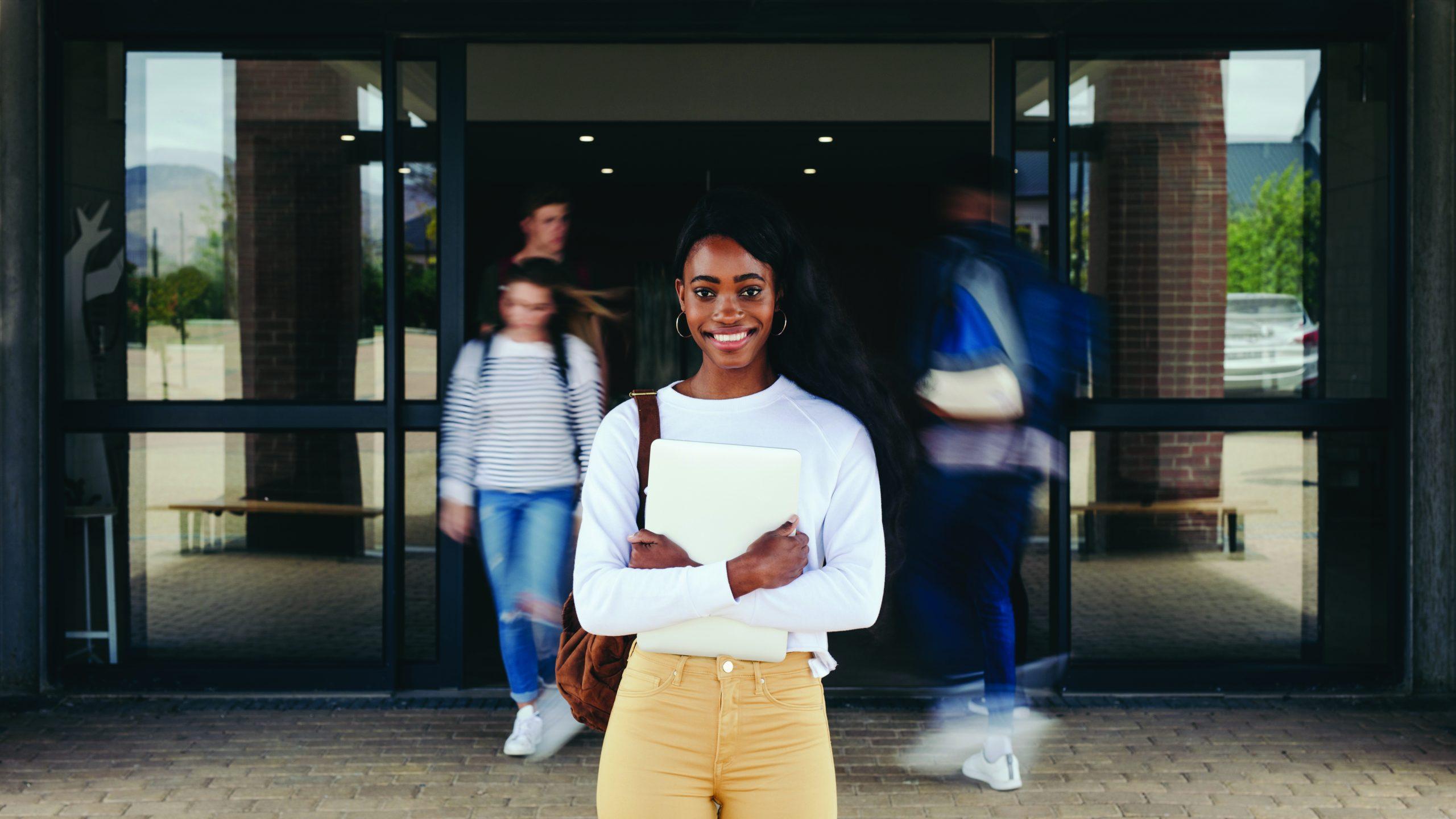 Female student at university campus